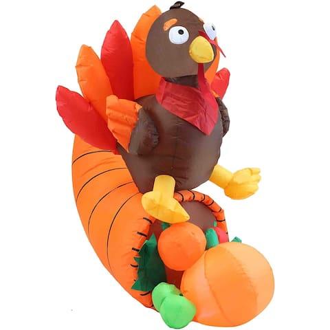 "Joiedomi 5 ft. Tall Brown, Yellow & Red Plastic Turkey on Cornucopia Inflatable - 9.6""W x 7.6""L x 11""H"