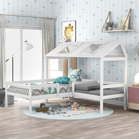 Merax L-shaped House Bed Twin Bed with Relax Seat