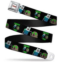 Adventure Time Logo White Full Color Finn & Jake C U Zombie Time Black Seatbelt Belt