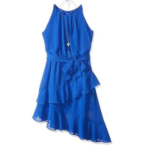 Amy Byer Girl's Dress Royal Blue Size 14 Aysmmetrical Tie-Waist Chiffon