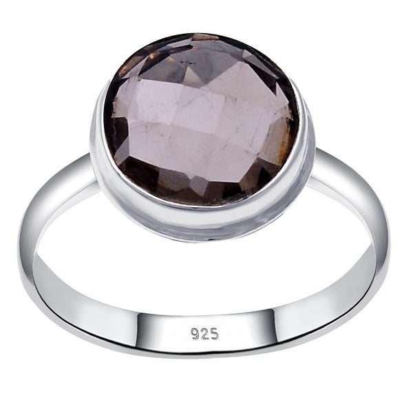 Smoky Quartz Sterling Silver Round Engagement Ring by Orchid Jewelry. Opens flyout.