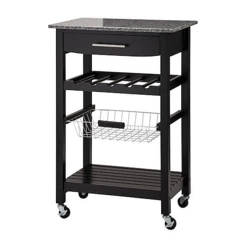 """Glitzhome 34""""H Rolling Kitchen Island with Marble Top"""