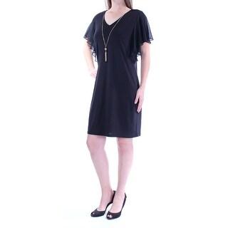 Womens Black Sleeveless Above The Knee Shift Formal Dress Size: 8