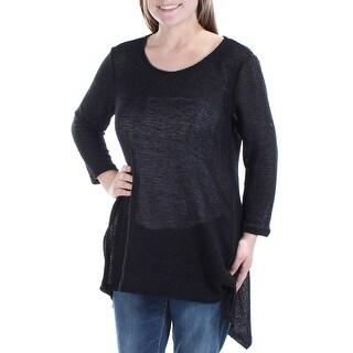 Womens Black 3/4 Sleeve Jewel Neck Casual HiLo Sweater Size M