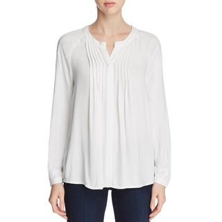 Bobeau Womens Casual Top Pleated V-Neck