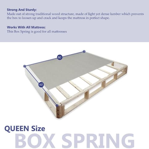 ONETAN, 8-Inch Wood Fully Assembled Traditional Box Spring/Foundation For Mattress.