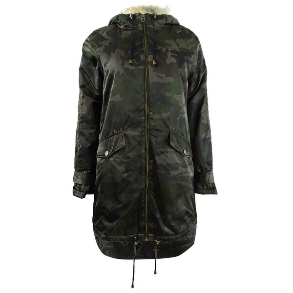Lucky Brand Women's Camo Print Faux-Fur-Trim Coat (XS, Green Multi) - XS. Opens flyout.