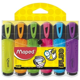 Maped Classic Fluorescent Highlighter, Assorted Colors, Set of 6