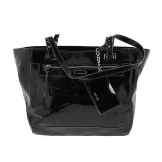 Nine West Womens Ava Faux Leather Shopper Tote Handbag - multi black - Large
