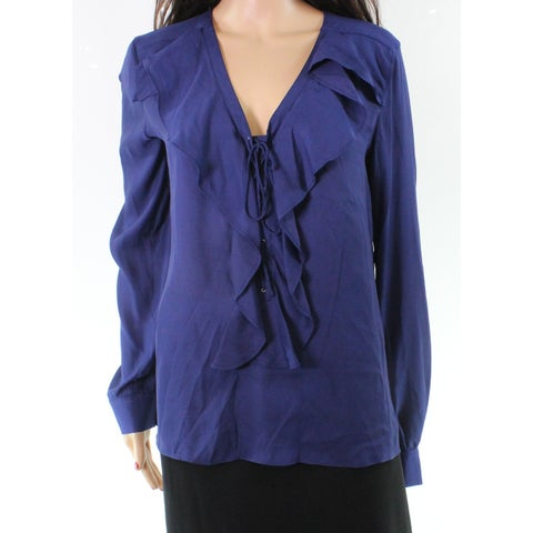 Parker Women's Large Ruffle Trim V-Neck Blouse