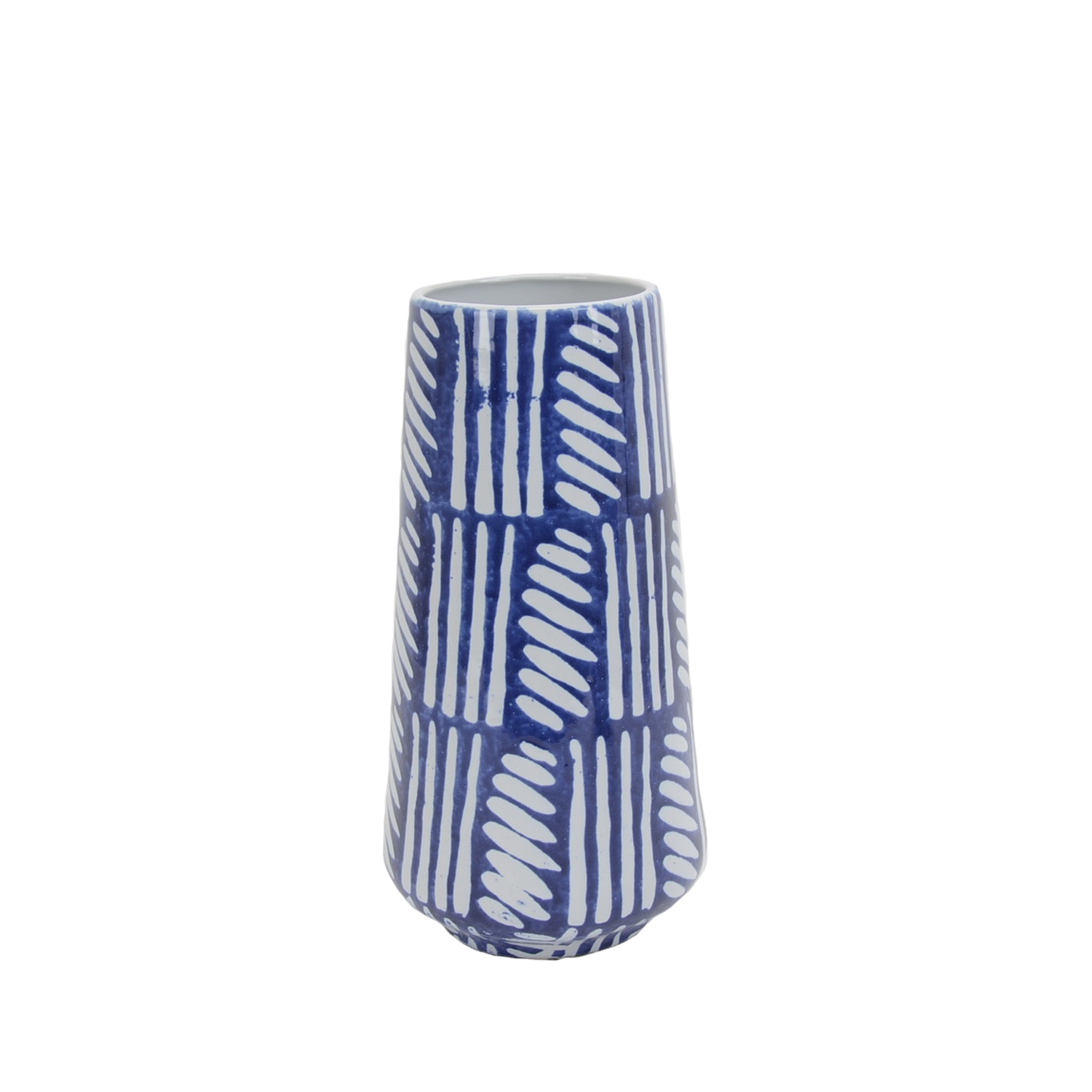 Textured Ceramic Vase with Tapered Round Base, Small, Blue and White