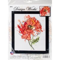 """Peach Floral Counted Cross Stitch Kit-8""""X10"""" 14 Count"""