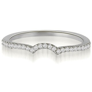 0.15 CT.TW Petite Round Cut Diamond Curved Wedding Ring - White H-I (More options available)