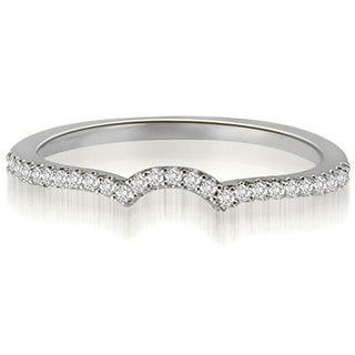 0.15 CT.TW Petite Round Cut Diamond Curved Wedding Ring - White H-I