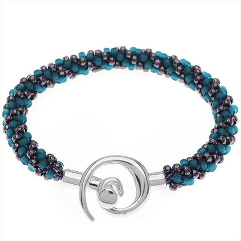 Spiral Beaded Kumihimo Bracelet (Teal/Purp) - Exclusive Beadaholique Jewelry Kit