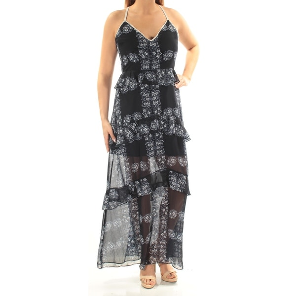 7aa0804537 Shop ENDLESS ROSE Womens Navy Ruffled Sheer Floral Spaghetti Strap V Neck  Maxi Sheath Dress Size: L - Free Shipping On Orders Over $45 -  Overstock.com - ...