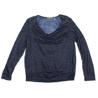 NY Collection Womens Embellished Metallic Pullover Sweater - M