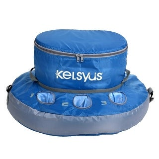 "15.5"" Blue Inflatable Floating Swimming Pool Cooler with Cup Holders and Zipper Lid"