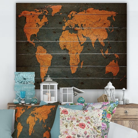 Designart 'Ancient Map of The World Africa' Vintage Print on Natural Pine Wood