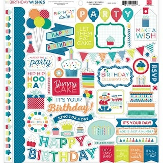 "Birthday Wishes Boy Cardstock Stickers 12""X12""-Element"