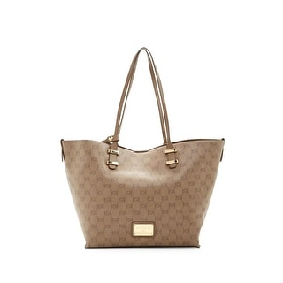 Bebe Womens Alexis Tote Handbag Faux Leather Signature - Large