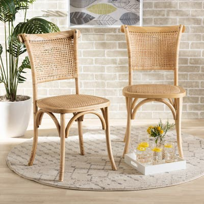 Fields Mid-Century Woven Rattan and Natural Wood Dining Chair Set(2PC)