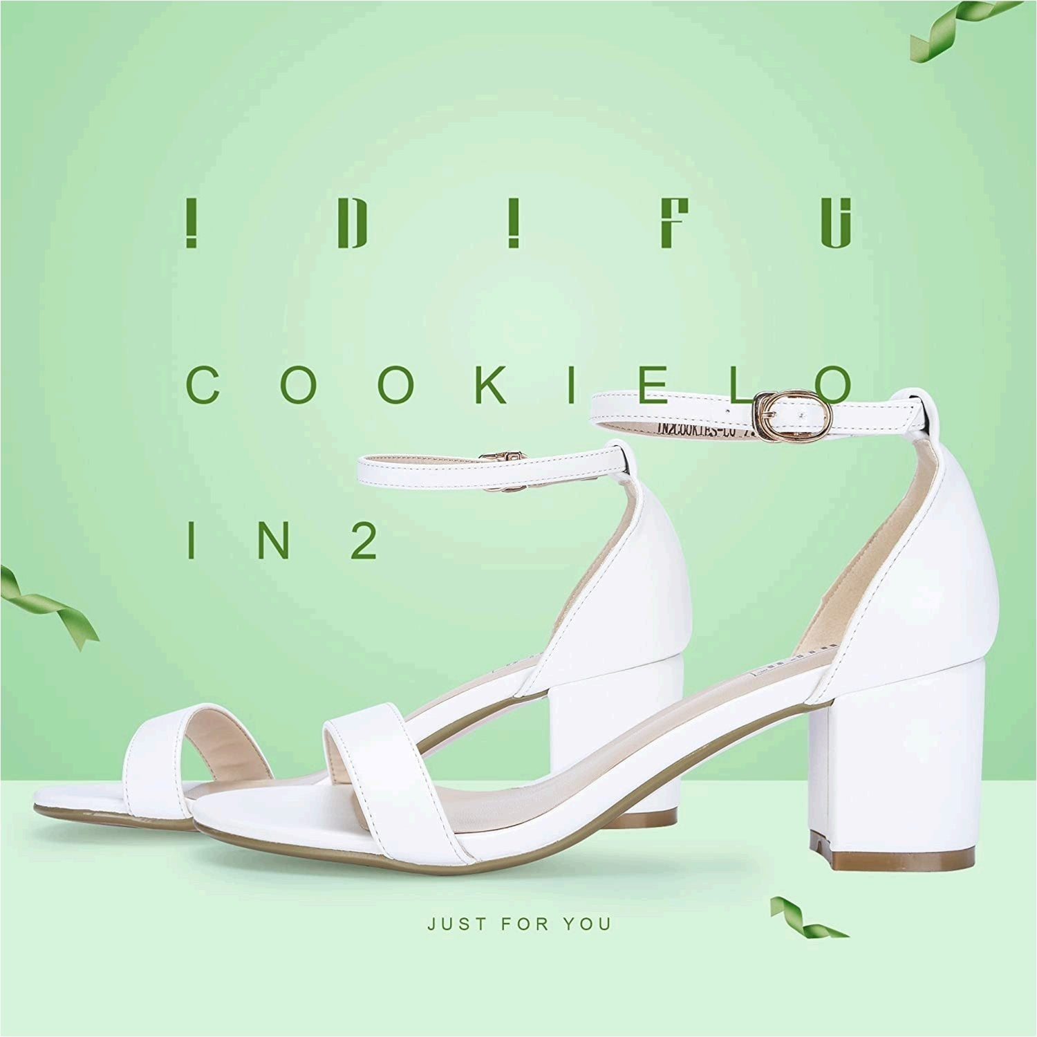 IDIFU Womens Cookie-Lo Low Block Heels Chunky Sandals Ankle Strap Wedding Dr.