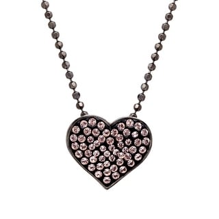 Crystaluxe Heart Pendant with Swarovski Crystals in Sterling Silver - Pink