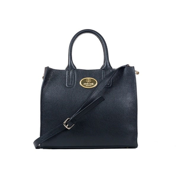 bffd4b3d56 Shop Roberto Cavalli Structured Black Grainy Calf Leather Tote Bag ...