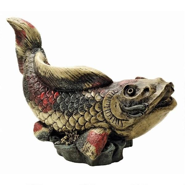 "16"" Asian Koi Fish Piped Garden Statue - N/A"