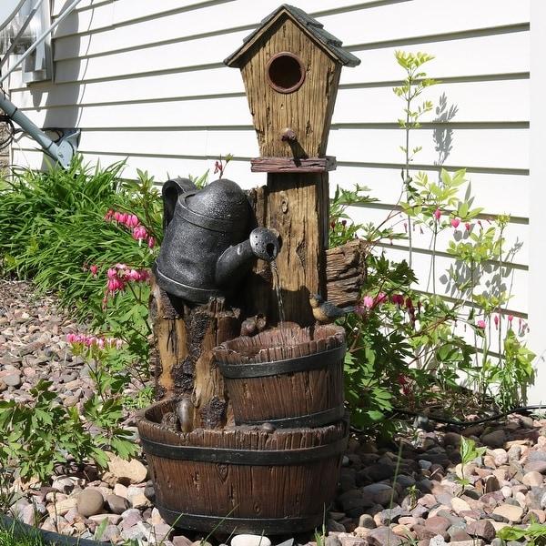 Sunnydaze Rustic Birdhouse & Garden Watering Can Outdoor Fountain 31 Inch Tall