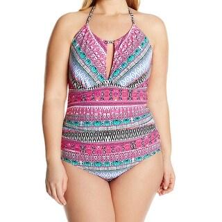 Kenneth Cole Reaction Pink Women 3X Plus Size Stripe Swimsuit
