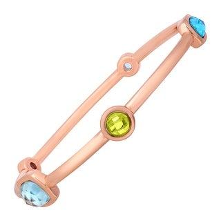 5 ct Topaz & Peridot Bangle Bracelet in 18K Rose Gold-Plated Bronze - Blue