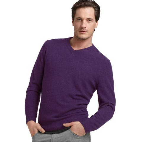 Bloomingdales Mens 2-Ply Cashmere V-Neck Sweater Small S Plum Knitwear