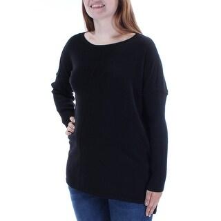 Womens Black Long Sleeve Jewel Neck Sweater Size L