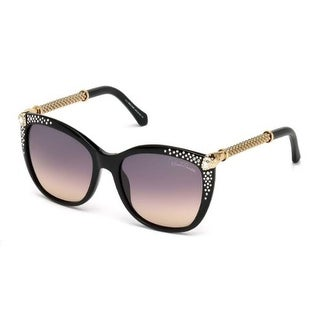 Roberto Cavalli Eyewear Shiny Black Frame Gradient Smoke Lens Sunglasses