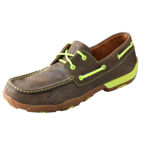 Twisted X Shoes Mens Leather Driving Moc Brown Yellow