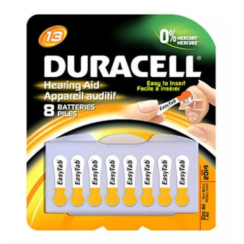 Duracell 00277 Hearing Aid Battery with EasyTab, 1.4 Volt, #13, 8-Pack