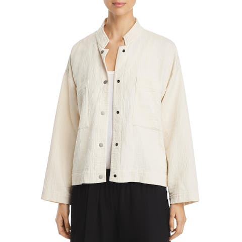Eileen Fisher Womens Shirt Jacket Organic Cotton Fall