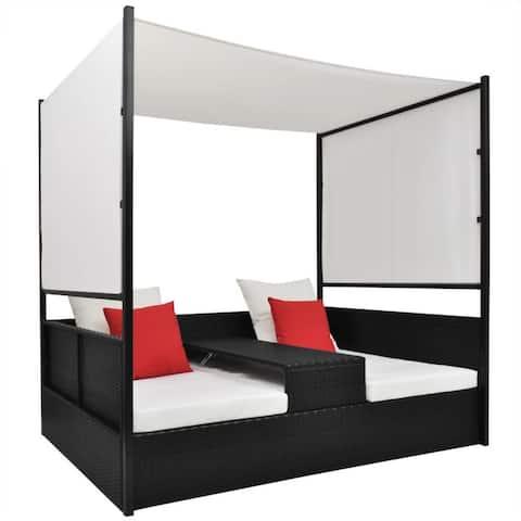 "vidaXL Garden Bed with Canopy Black 74.8""x51.2"" Poly rattan - 74.8"" x 51.2"" x 70.9"""