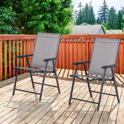 Podena Grey Folding Patio Chairs (Set of 2) by Havenside Home