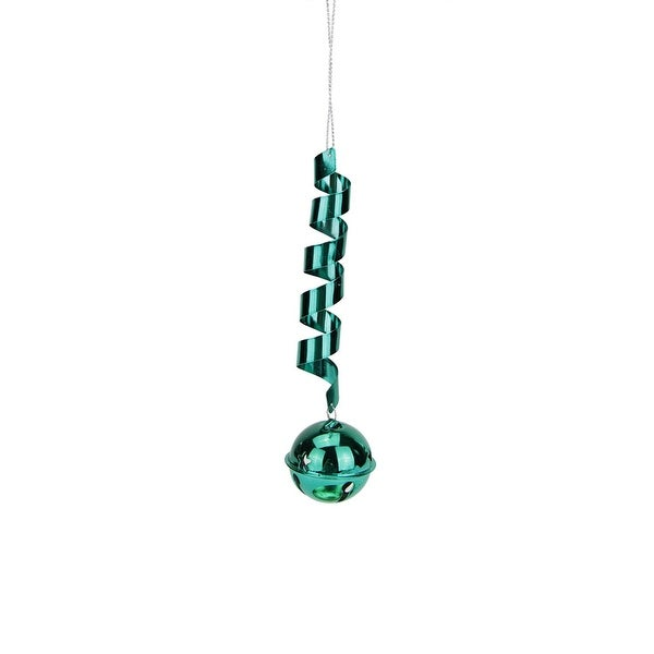 """Bright Turquoise Green Shiny Drop Spiral Jingle Bell Christmas Ornament 6"""""""