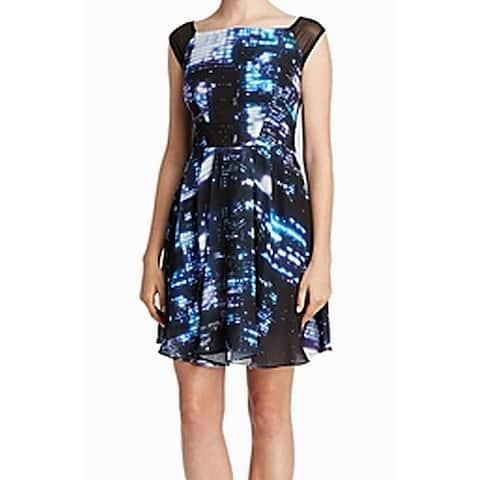 Milly Women's Blue Black Mesh Galaxy Abstract Print 8 Sheath Dress