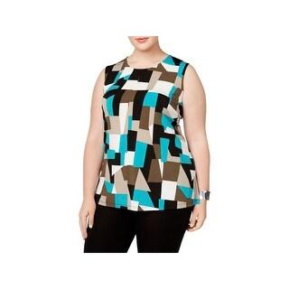 Kasper Womens Shell Colorblock Sleeveless