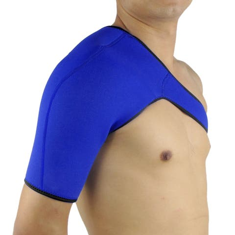 Unique Bargains Blue L Size Neoprene Elastic Comfortable Shoulder Support Injury Protect for Gym