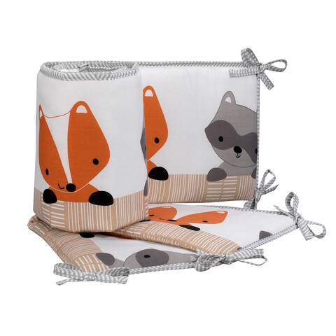 Bedtime Originals Acorn White/Gray/Orange/Beige Woodland Fox, Raccoon & Bear 4-Piece Baby Crib Bumper