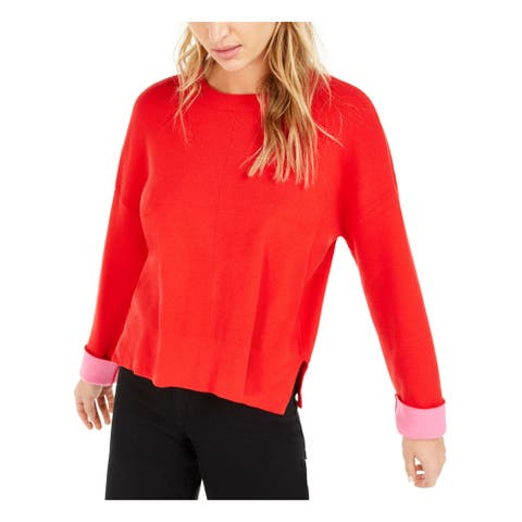 BAR III Womens Red Long Sleeve Crew Neck Sweater Size S