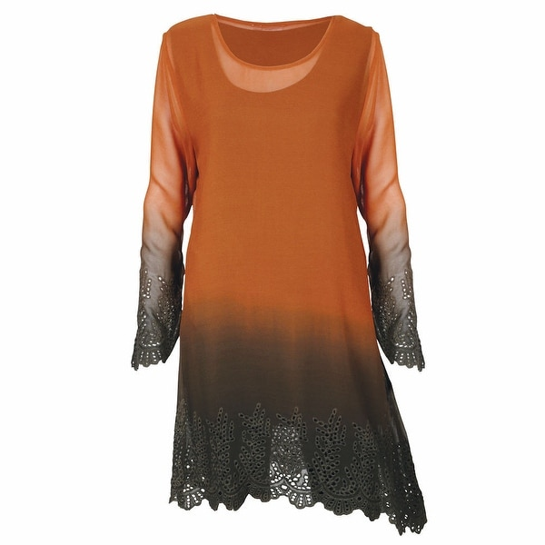 Women's Parsley & Sage Autumn Lace Copper Ombre Long Tunic Top
