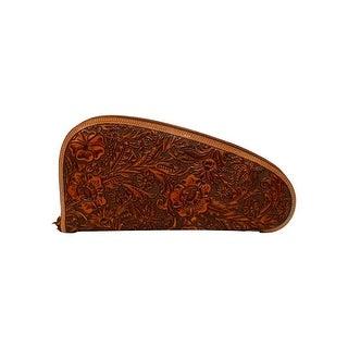 Nocona Leather Gun Case Zip Close Floral Embossed Tan