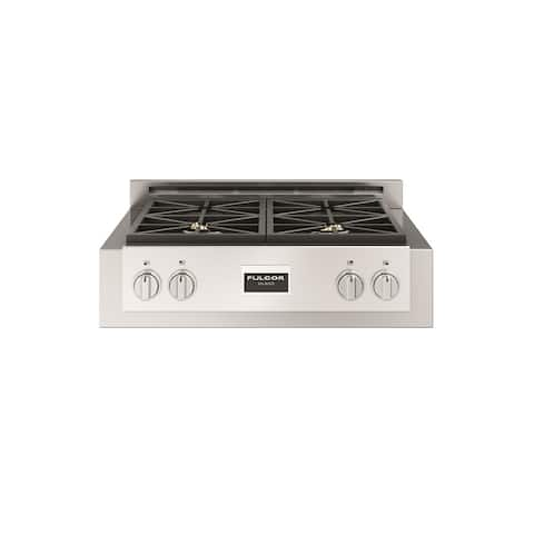 """Fulgor Milano F6GRT304 30"""" Wide Built-In Natural Gas Rangetop with Dual Flame Brass Burner and Electronic Flame Ignition"""